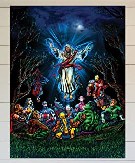 TRIUMPHWEAR and thats how i saved the world - Jesus Ascension DC Marvel Superheroes - 12x16 wall poster