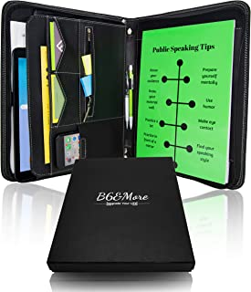 B6 and More - Black PU Leather Portfolio padfolio with Zippered Closure and compartments for ipad, iPhone, Business Cards,resumes - Perfect for College, Work and Interview Includes legalpad