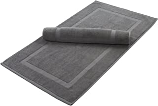 Home and Plan Washable Premium 100% Turkish Cotton Bath Mats | 2-Piece Set, Banded Floor Mats (20x34) - Grey (S2)