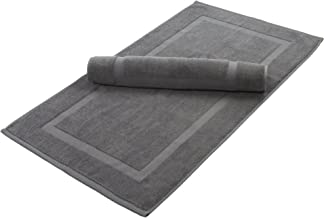 Home and Plan Washable Premium 100% Turkish Cotton Bath Mats | 2-Piece Set, Banded Floor Mats (20x34) - Grey (S2)