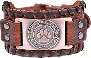TEAMER Viking Wolf Paw Bear Claw Norse Runes Leather Bracelet for Men Amulet Jewelry