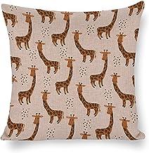 DKISEE De Giraffe Sierkussenhoes 18x18 inch, katoenen linnen kussensloop met onzichtbare rits, woondecoratie kussensloop v...