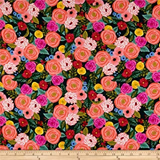 Cotton + Steel Rifle Paper Co. English Garden Rayon Challis Juliet Fabric, Rose Navy, Fabric By The Yard