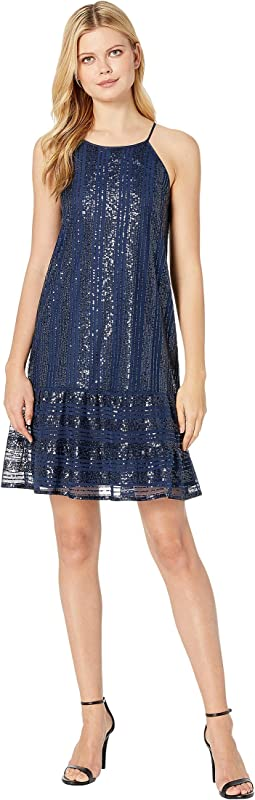 Sleeveless Ruffled Sequin Shift Dress