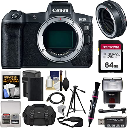 $2179 Get Canon EOS R Full Frame Mirrorless Digital Camera Body with Control Ring Mount Adapter + 64GB Card + Battery + Case + Strap + Tripod + Flash Kit