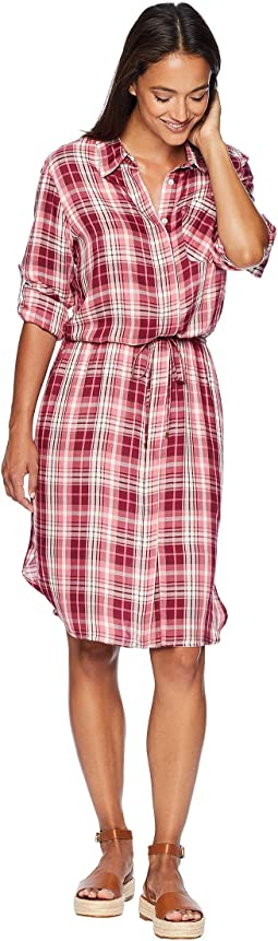 Plaid Drawstring Shirtdress