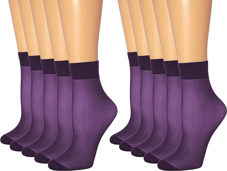 10 Pairs Women's Ankle Sheer Socks 20 DEN