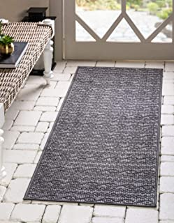 Unique Loom Outdoor Modern Collection Striped Casual Transitional Indoor and Outdoor Flatweave Gray Runner Rug (2' 2 x 6' 0)