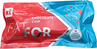 KE FatFor Keto Macro Bars ~ Chocolate Chip | 5 Pack | 3g Net Carbs + 10g Protein | Stevia Free, Gluten Free, Dairy Free, Egg Free | Organic Fair Trade Bittersweet Chocolate Chips