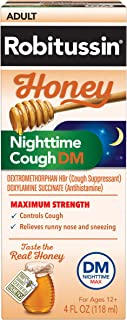 Robitussin Honey Adult Maximum Strength Nighttime Cough DM Max, Cough Suppressant & Antihistamine, Real Honey, 4 fl. oz. Bottle