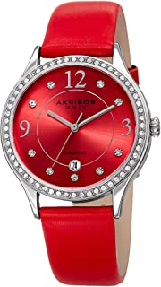 Akribos XXIV Women's Quartz Diamond & Swarovski Crystal Silver-Tone and Red Leather Strap Watch - AK1011RD