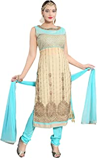 PC Chandan Creation Women's Hand Embroidered Net Straight Suit in Beige and Sky Blue