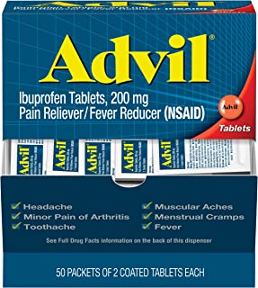 Advil Coated Tablets Pain Reliever and Fever Reducer, Ibuprofen 200mg, 100 Count (50 Packets of 2 Capsules), On the Go Pain Relief