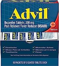 Advil (50 بسته 2 قوطی) قرص تسکین دهنده درد / تب کاهش دهنده ریفلاکس، به طور جداگانه مهر و موم شده، 200 میلی گرم ایبوپروفن، تسکین درد موقت، بسته سفر
