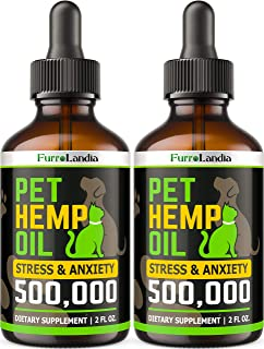 (2 Pack) Hemp Oil for Dogs and Cats - 500,000 - Separation Anxiety, Joint Pain, Stress & Inflammation Relief - Pet Hemp Oi...