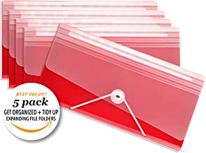 Premium Expandable Organization Storage Folders, Tidy Up Ready, Toggle + Elastic Closure, Slim Poly Expandable File Folder - 12 Pockets -Ruby Red Color, Set of 5