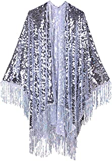 The LUMi Shop Disco Sequin Kimono Festival Fashion Shawl for Rave, Club, Beach, Swimwear