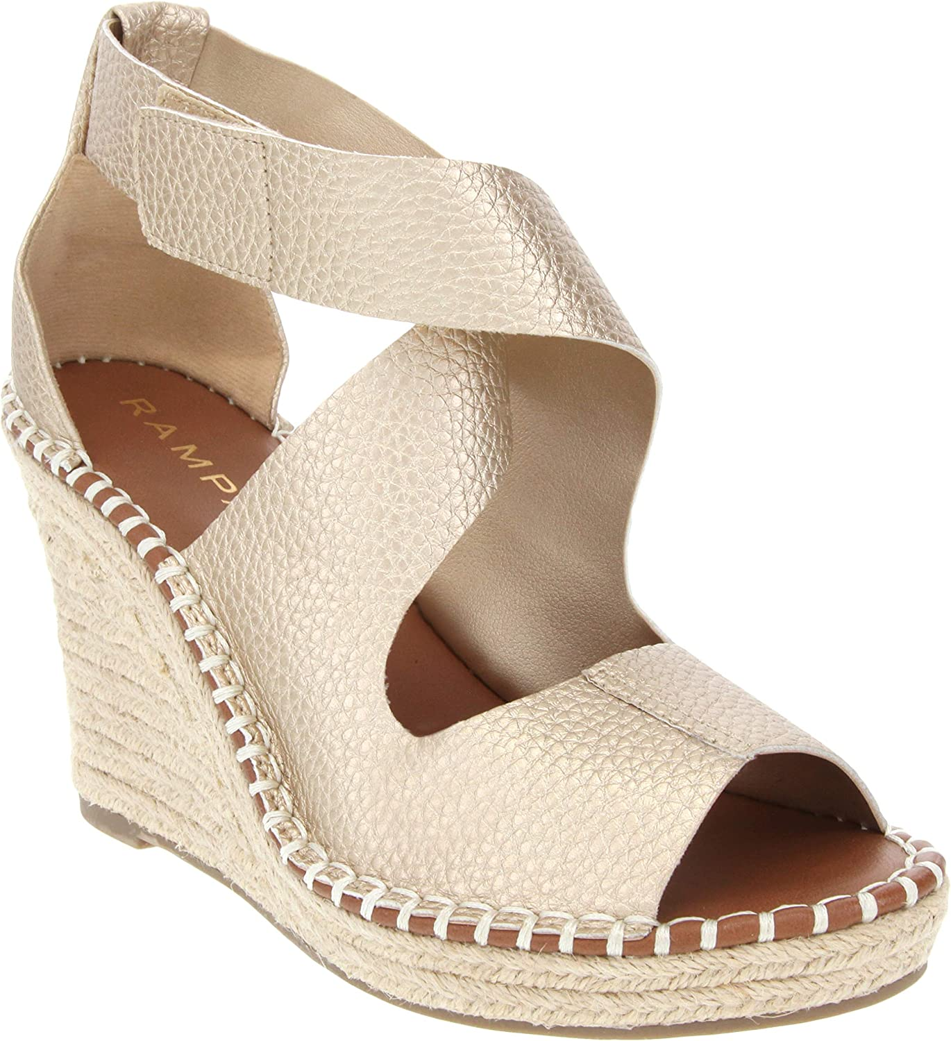 Rampage Women's Holmes Espadrille Wedge Sandals with Criss Cross Strap and Adjustable Closure