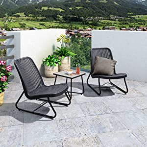 PURPLE LEAF 3 Pieces Patio Furniture Set Outdoor Bistro Table Set with Weather Resistant Steel Frame and Square Table, Cushions Included, Grey