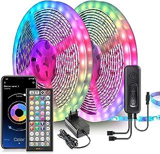 Ruban LED, 20M Bande LED Ultra-longue Lumineuse LED 5050 RGB Contrôlé par Télécommande APP, Synchroniser avec Rythme de Mu...