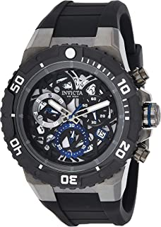 Invicta Men's 'Pro Diver' Quartz Stainless Steel and Silicone Casual Watch, Black (26072), Analog Display