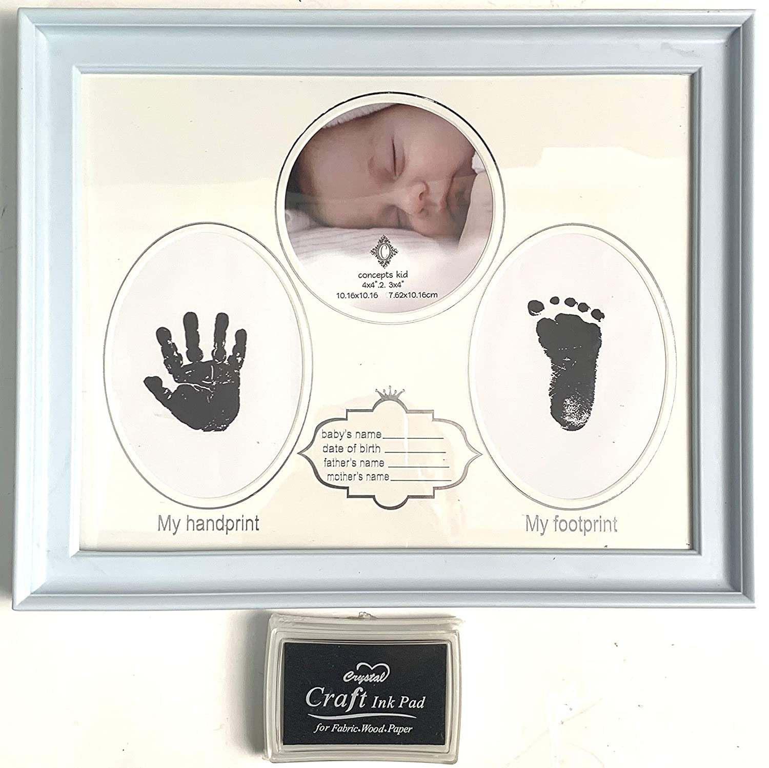 Concept in Time Babyprints Newborn Keepsake Baby Handprint and Footprint Photo Frame Kit with an Included Clean-Touch Ink Pad to Create Baby's Prints, A Perfect Baby Shower (Blue)