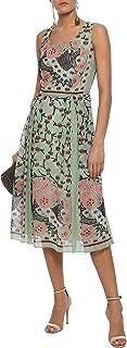 Anna Sui Rubaiyat Sleeveless Dress - 8 Pleated Print Silk Voile Floral Green Pink