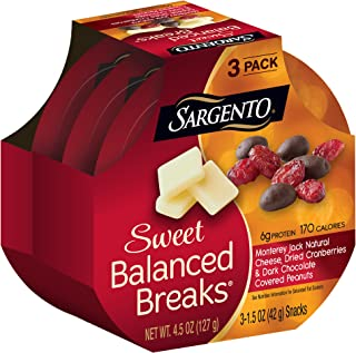 Sargento Sweet Balanced Breaks Monterey Jack Natural Cheese with Dried Cranberries and Dark Chocolate Covered Peanuts, 1.5 oz, 3-Pack