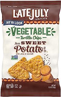 LATE JULY Snacks Vegetable Tortilla Chips, Sweet Potato Tortilla Chips, 5.5 oz. Bag