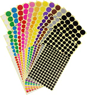 LJY Color Coding Labels Removable Small Circle Round Dot Stickers Calendar Planner Classroom Organization Decorations, 12 Colors, Mixed Sizes, Total 4452 Dots in 48 Sheets