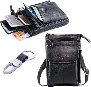 کیف دستی شانه مسافرتی Hwin مردان تلفن همراه Crossbow کیف پول آیفون 8 پلاس هولستر کراوات حق بیمه کمربند چرمی کیف دستی کوچک برای آیفون 7 پلاس سامسونگ S9 S7 Edge Plus LG G6 / V30 + Keyring-Black