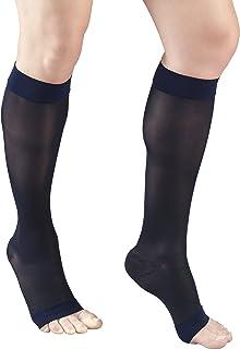 Truform Sheer Compression Stockings, 15-20 mmHg, Women's Knee High Length, Open Toe, 20 Denier, Navy, X-Large