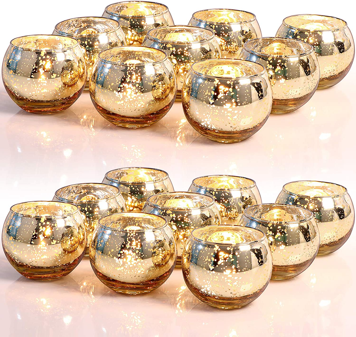 LETINE 36pcs Gold New life Votive Candle Tampa Mall Holders - Tealig Round table for