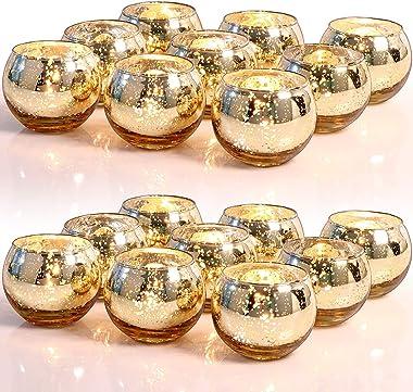 LETINE 36pcs Gold Votive Candle Holders for Table - Round Tealight Candle Holder Bulk -Ideal Mercury Glass Votives Centerpiec