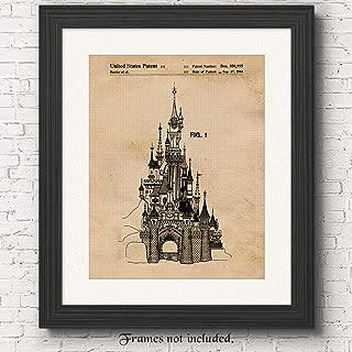 Original Disney Sleeping Beauty Castle Vintage Patent Art Poster Prints, Set of 1 (11x14) Unframed Photo, Great Wall Art Decor Gifts Under 15 for Home, Office, Student, Teacher, Amusement Park Fan