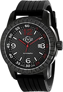 GV2 by Gevril Lucky 7 Mens Swiss Automatic Black Rubber Strap Watch, (Model: 9302)