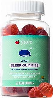 Yuve Sleep Gummies for Adults & Kids - Chewable Melatonin 2 mg - Vegan Sleep Aid with Pure Passiflora Extract & B6 Vitamin...