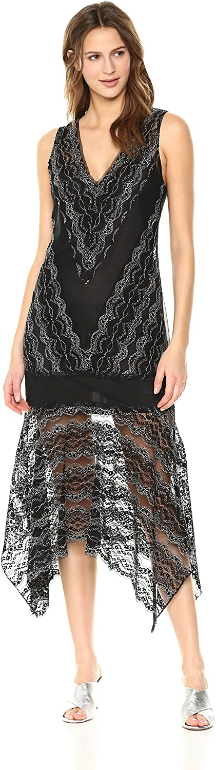 BCBGMAXAZRIA Womens Malory Asymmetrical Lace Dress Cocktail Dress