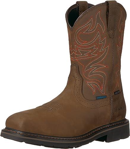 Ariat - Chaussures de Travail Western à Bout d'acier Sierra Delta H2O Homme, 42 M EU, Oily Distressed marron