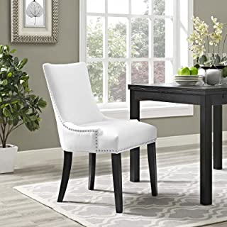 Modway Marquis Modern Faux Leather Upholstered Parsons Kitchen and Dining Room Chair with Nailhead Trim in White