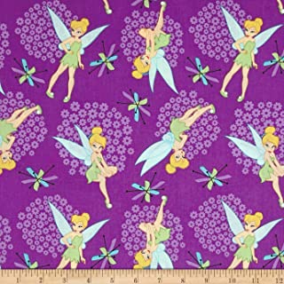 Disney Tinkerbell Tinkerbell Toss Purple Fabric By The Yard