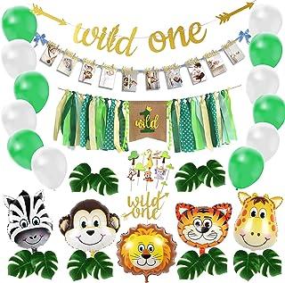 تزیین وحش یک تولد ، کیت تزیین اولین تولد کودک سافاری ، ست بادکنک آرایی مهمانی تولد اول جنگل