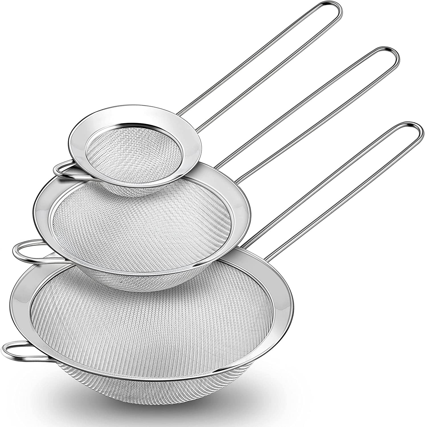 TeamFar Fine Mesh Strainer Set of 3, Stainless Steel Sieve Fine Mesh, Food Strainer Wire Sieve Sifters with Handle for Baking, Sifting Flour / Juice / Quinoa / Pasta, Stackable & Dishwasher Safe