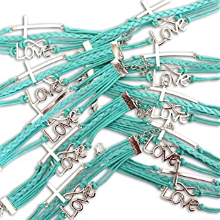 BAE Icons Infinity Love & Cross Christian Bracelet 10 pack party favors. Pack includes 10 Religious Bracelets for women and Girls. Aqua blue bracelets are ideal for Christian Gifts, Christian Youth and Teacher Appreciation Gifts. Comes in Display Box for Neighbourhood Church Sales.