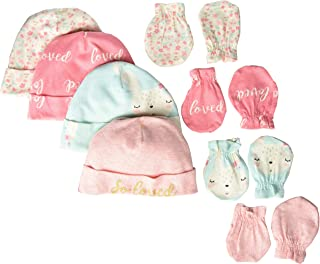 Gerber Baby Girls' 8-Piece Organic Cap and Mitten Set