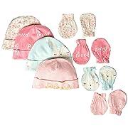 Gerber Baby Girls 8-Piece Organic Cap and Mitten Set, bunny love, 0-6 Months