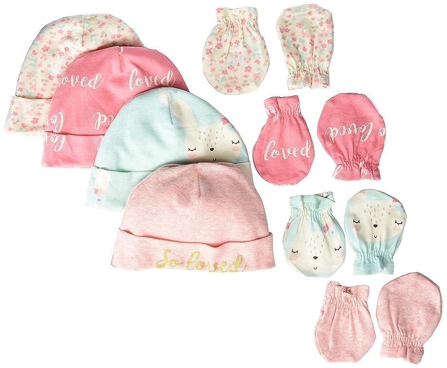Gerber Baby Girls' 8-Piece Organic Cap and Mitten Set
