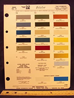 1969 PLYMOUTH Valiant, Barracuda, Belvedere, & Fury Paint Colors Chip Page