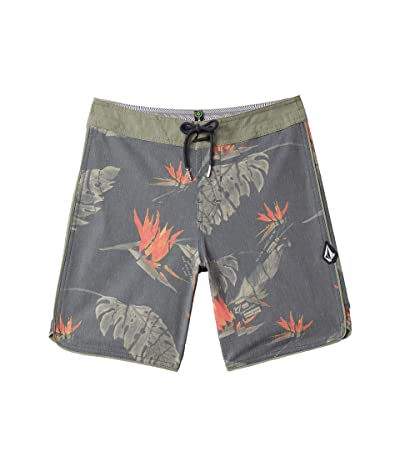 Volcom Kids Floral Erupter Trunks (Big Kids) (Black) Boy