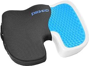 Plixio - Cojín de gel para silla de espuma viscoelástica con gel de enfriamiento para ciática, coxio, espalda y coxis, alm...
